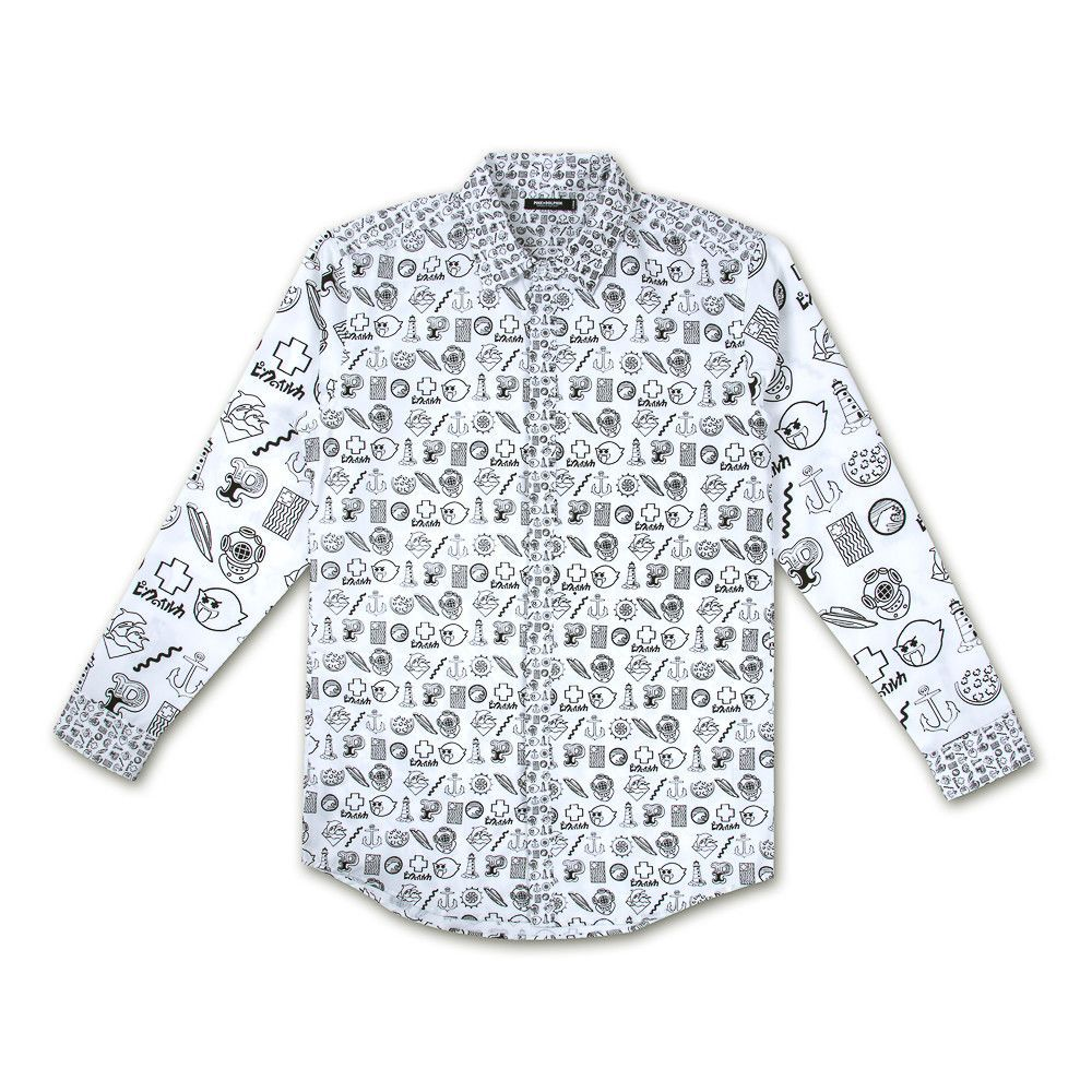Outline Vec Longsleeve Button up in White