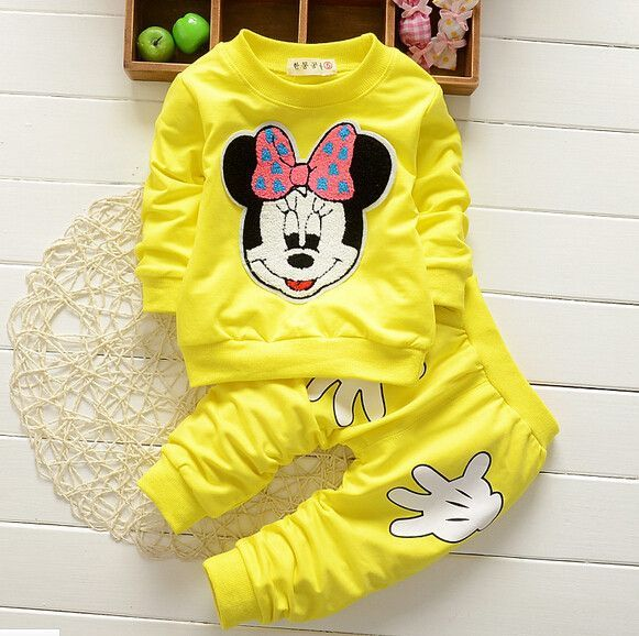 Trousers Outfits Set Toddler Baby Girls Kids Cartoon Minnie Mouse T-shirt Tops