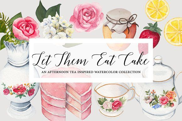 Let Them Eat Cake Watercolor Graphic