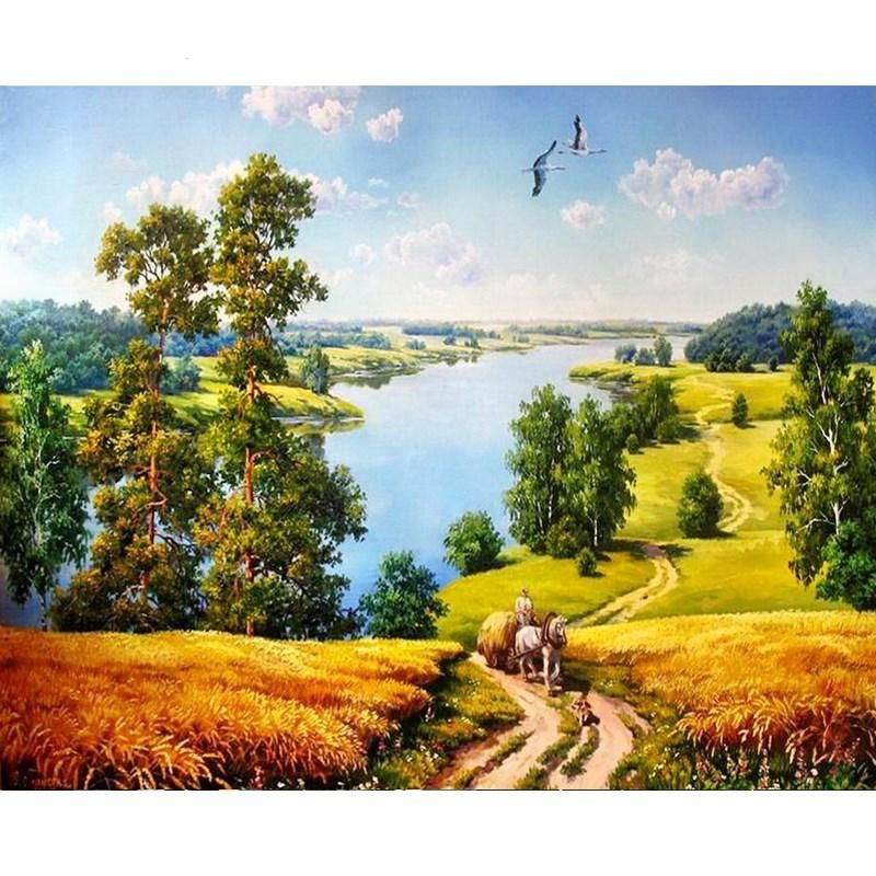 Forest Lake Landscape Canvas Picture Acrylic DIY Paint Set by Numbers Kits Decor