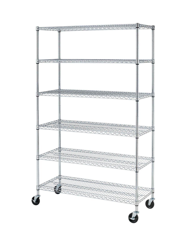 72 H X 48 L X 18 D Chrome Commercial 6 Layer Shelf