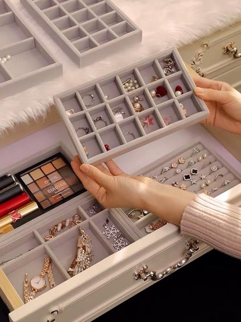 Luxury Jewellery Box Jewelry Organizer Drawers Dress Drawer Velvet Tray Storage Box Ring Tray Display Box In 2020 Luxury Jewelry Box Jewelry Closet Jewelry Organizer Drawer