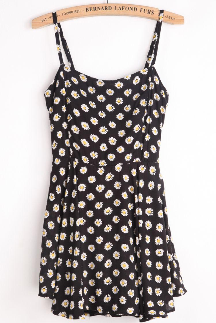 Black Spaghetti Strap Chrysanthemum Print Vest - Sheinside.com