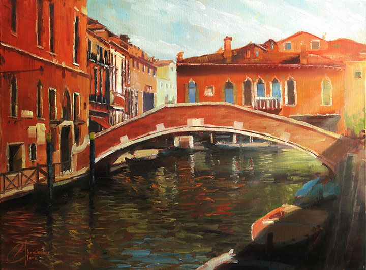 Venice-in-the-Afternoon---web - original venice oil italy painting by artist christopher clark