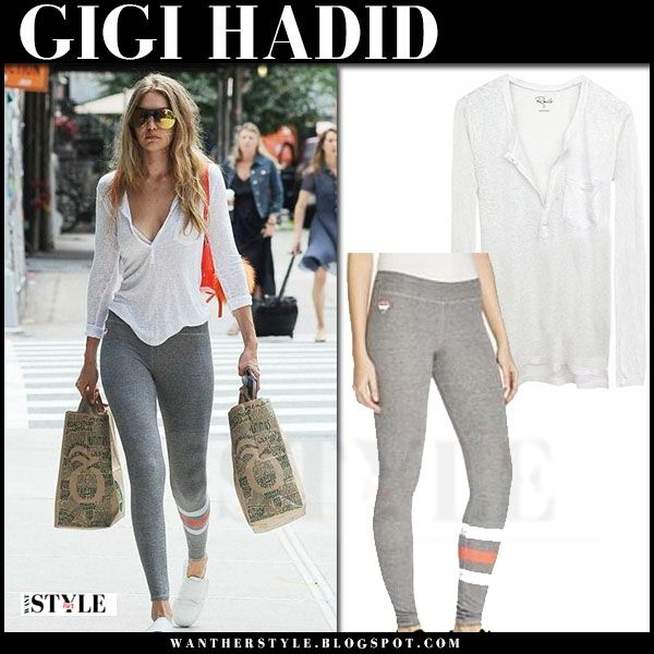 0e4cd0825606c Gigi Hadid in white top and grey leggings | Goals | Grey leggings ...