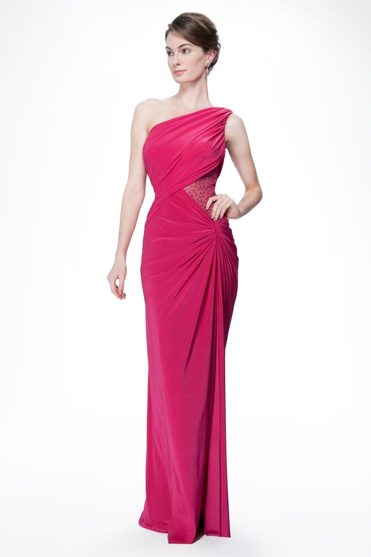One Shoulder Draped Jersey and Sequin Gown in Hot Pink - Prom ...