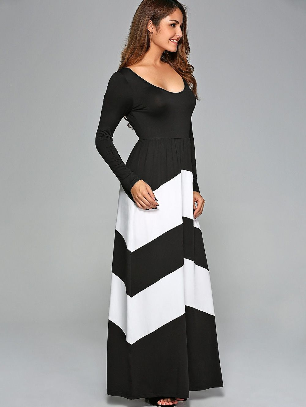 Zigzag Prom Party Maxi Dress with Sleeves - WHITE/BLACK L | nähen ...
