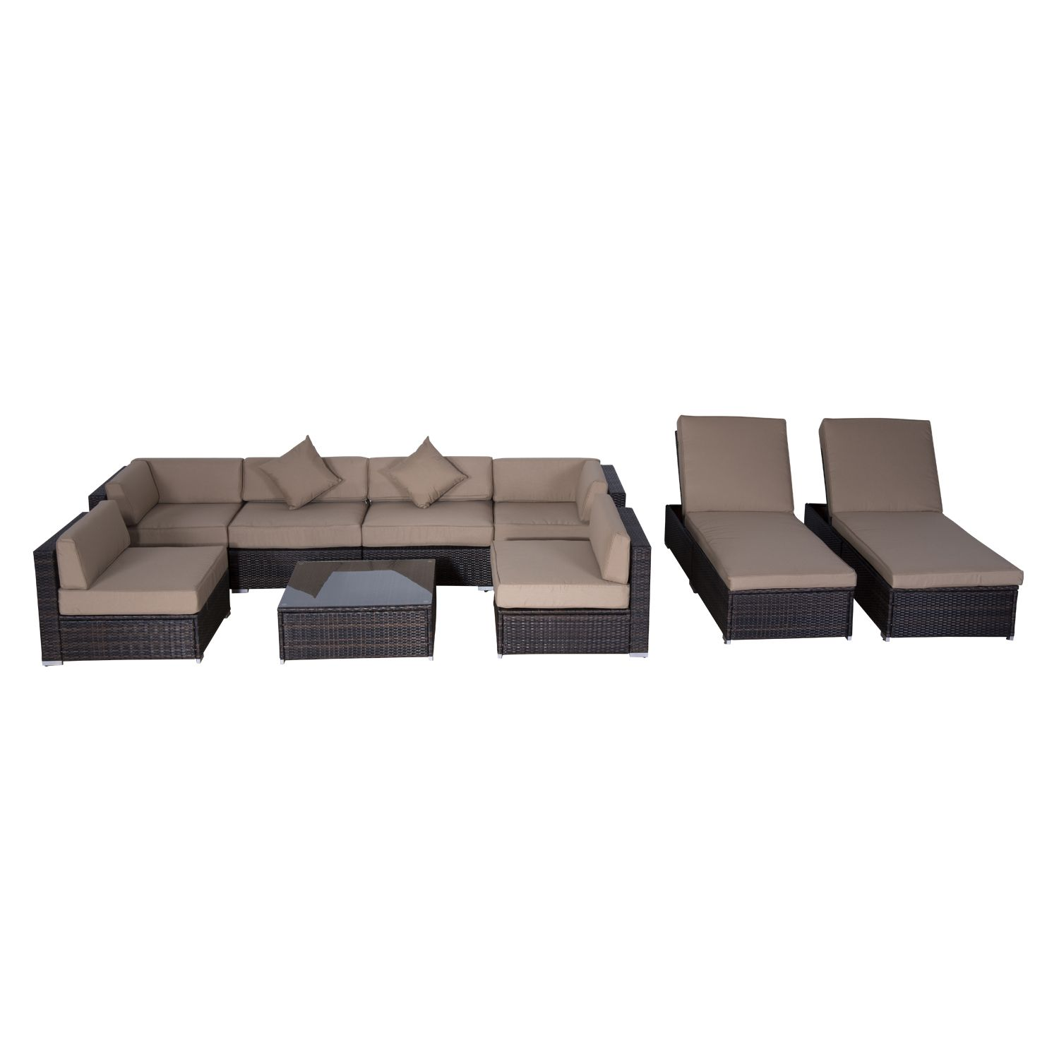 Outsunny 9 pc Outdoor Patio Rattan Wicker Sofa Sectional
