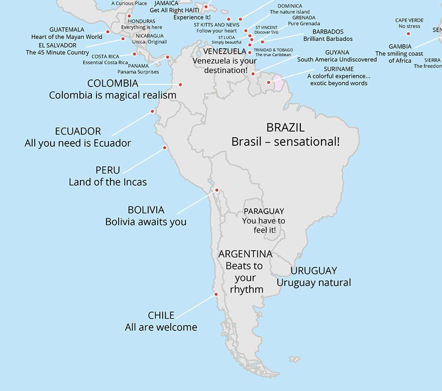 Tato Mapa Odkryva Turisticke Slogany Vsech Zemi Sveta Grenada