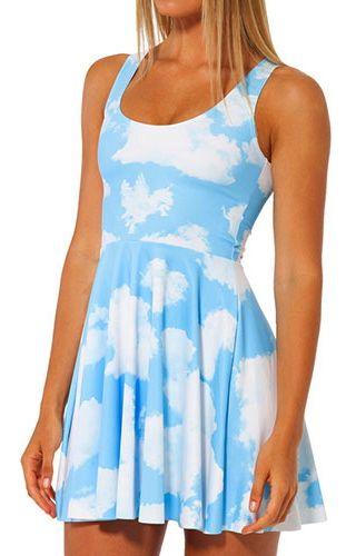 4785d2514a46e Blue Sky White Cloud Print Bodycon Racerback Dress | Women's outfit ...