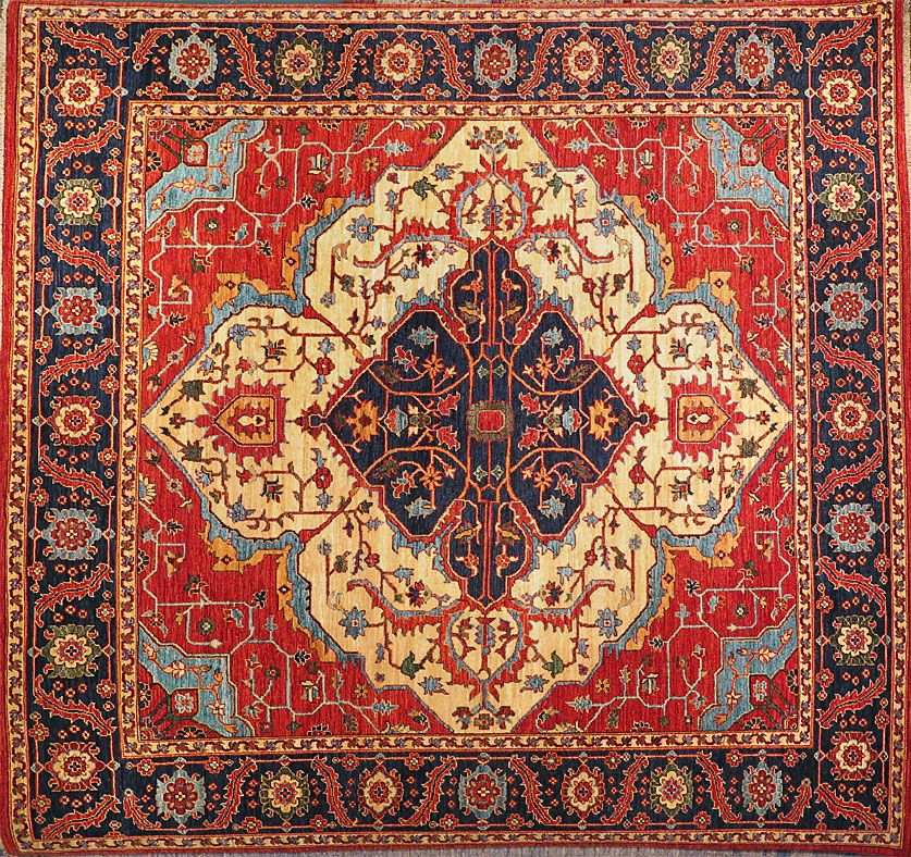 8x8 Heriz Medallion Rug From Afghanistan At Nomad Rugs