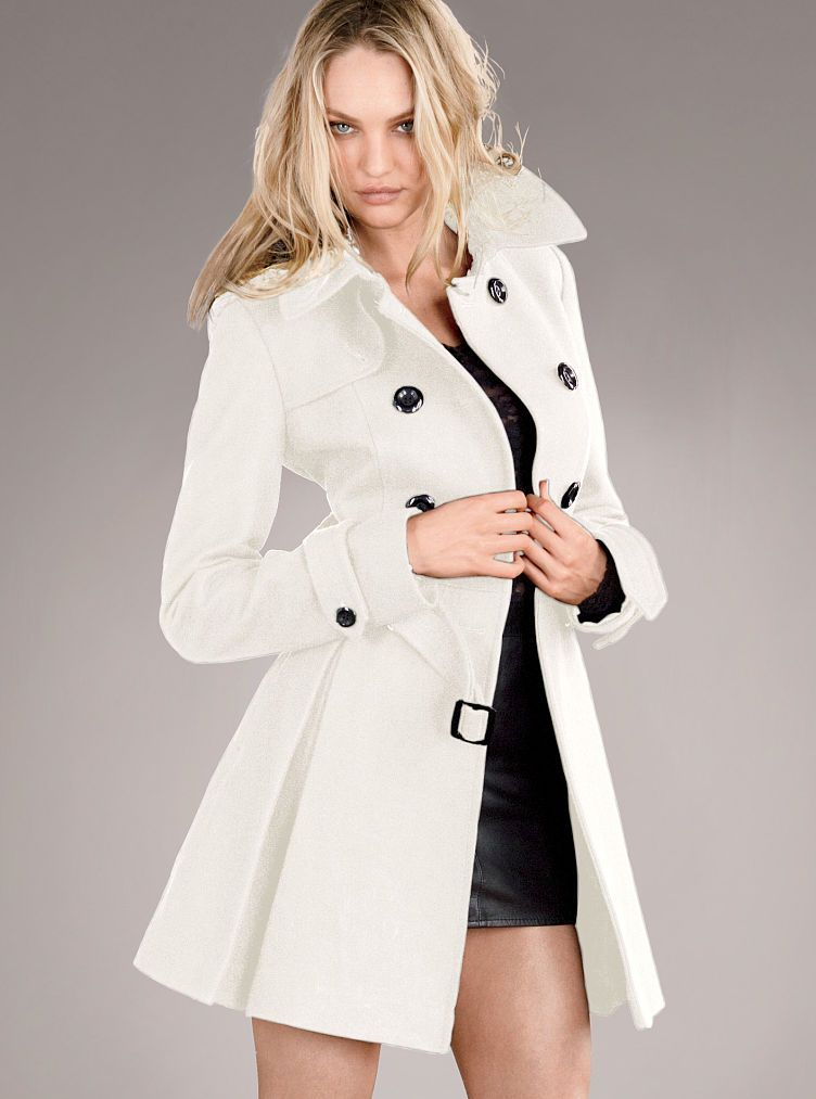 Victoria's Secret The Wool Trench Coat in White (winter white ...