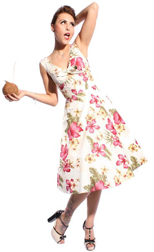 50s oldschool hibiskus swing petticoat kleid retro