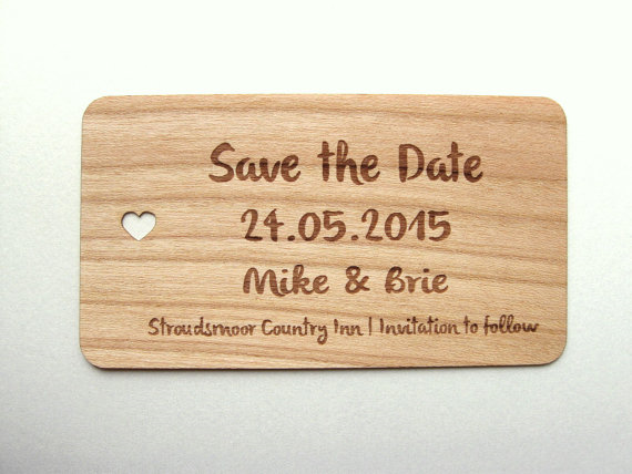 12 incredibly unique wedding save the dates pinterest wedding wooden business card size save the date reheart Gallery