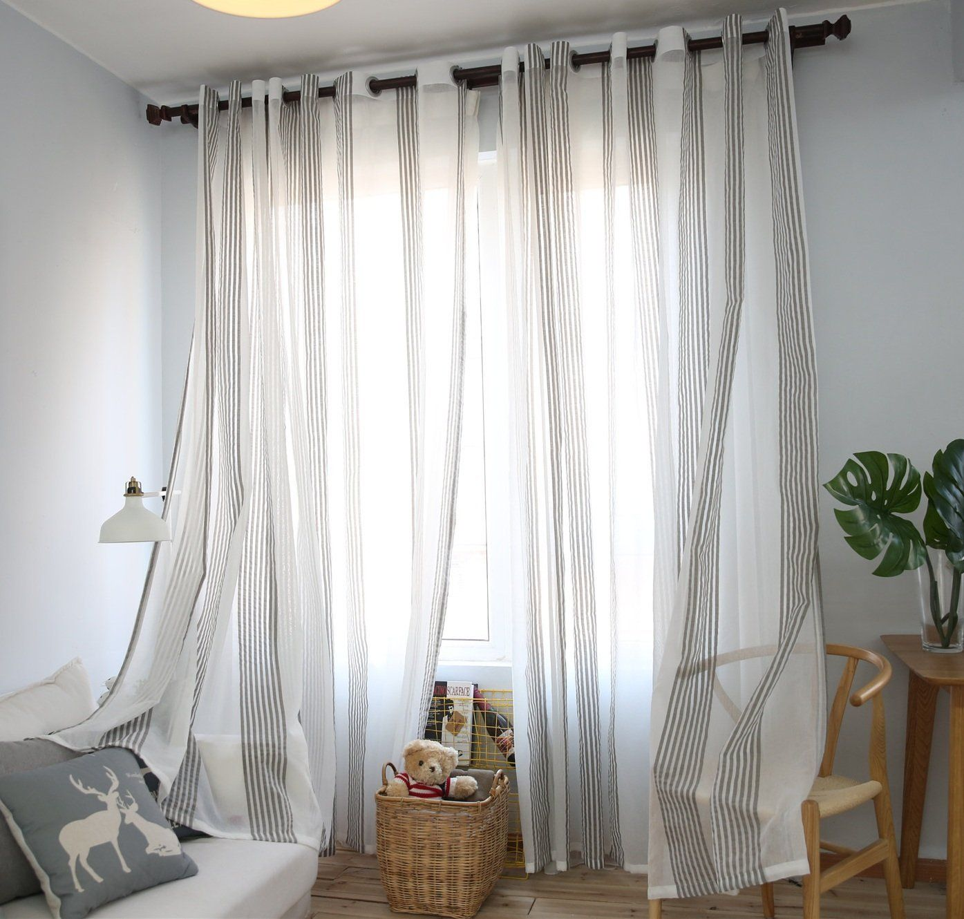Dezene Vertical Striped Window Treatments Panel Sheer Curtains