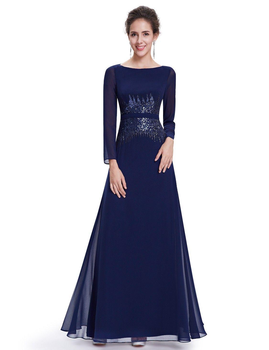 Abendmode / Langarm Abendkleid in Blau  Abendkleid, Chiffon