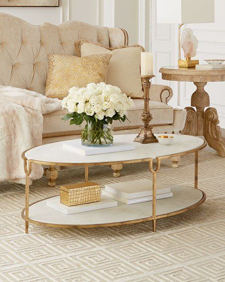 Stellar White Marble Coffee Table with elegant gold legs