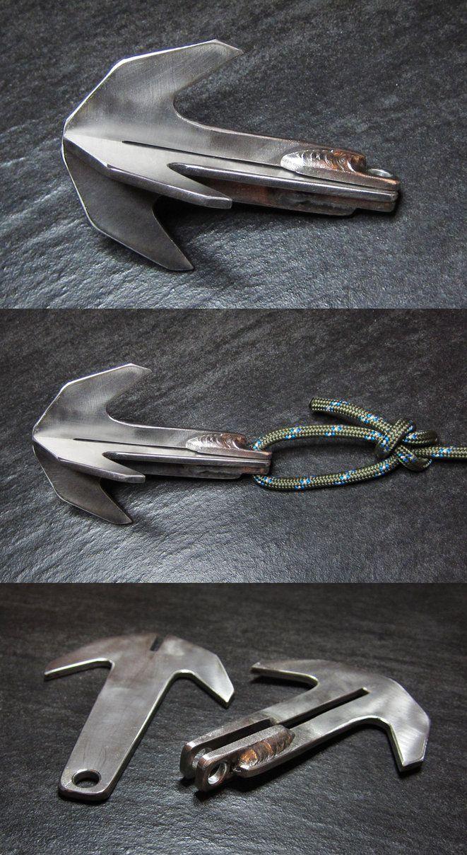 Tactical Ninja Boat Grapple Anchor LARGE FOLDING STEEL GRAPPLING HOOK /& ROPE