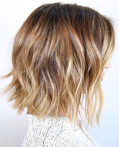 Bronde Highlights And Beachy Bob Hairstyle Thick Hair Styles Short Hair Balayage Short Hairstyles For Thick Hair