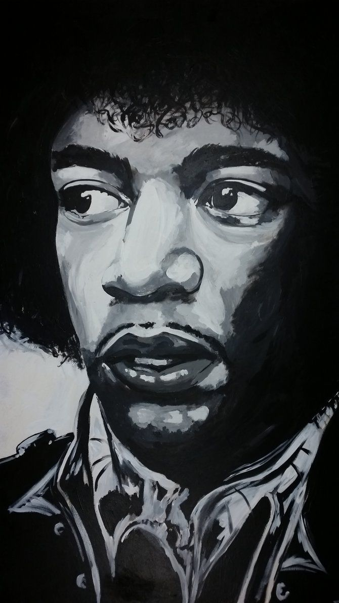 Black and white hendrix portrait painted onto hardboard using acrylics