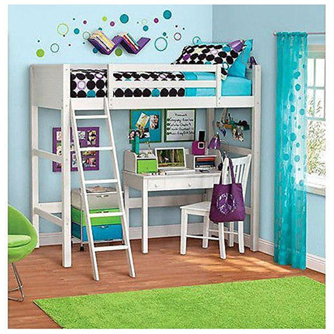 Unbranded Twin Bunk Loft Bed Over Desk With Ladder Kids Bedroom White Wood Furniture 78 75 L X 42 25 W 72 H Might Be Too High