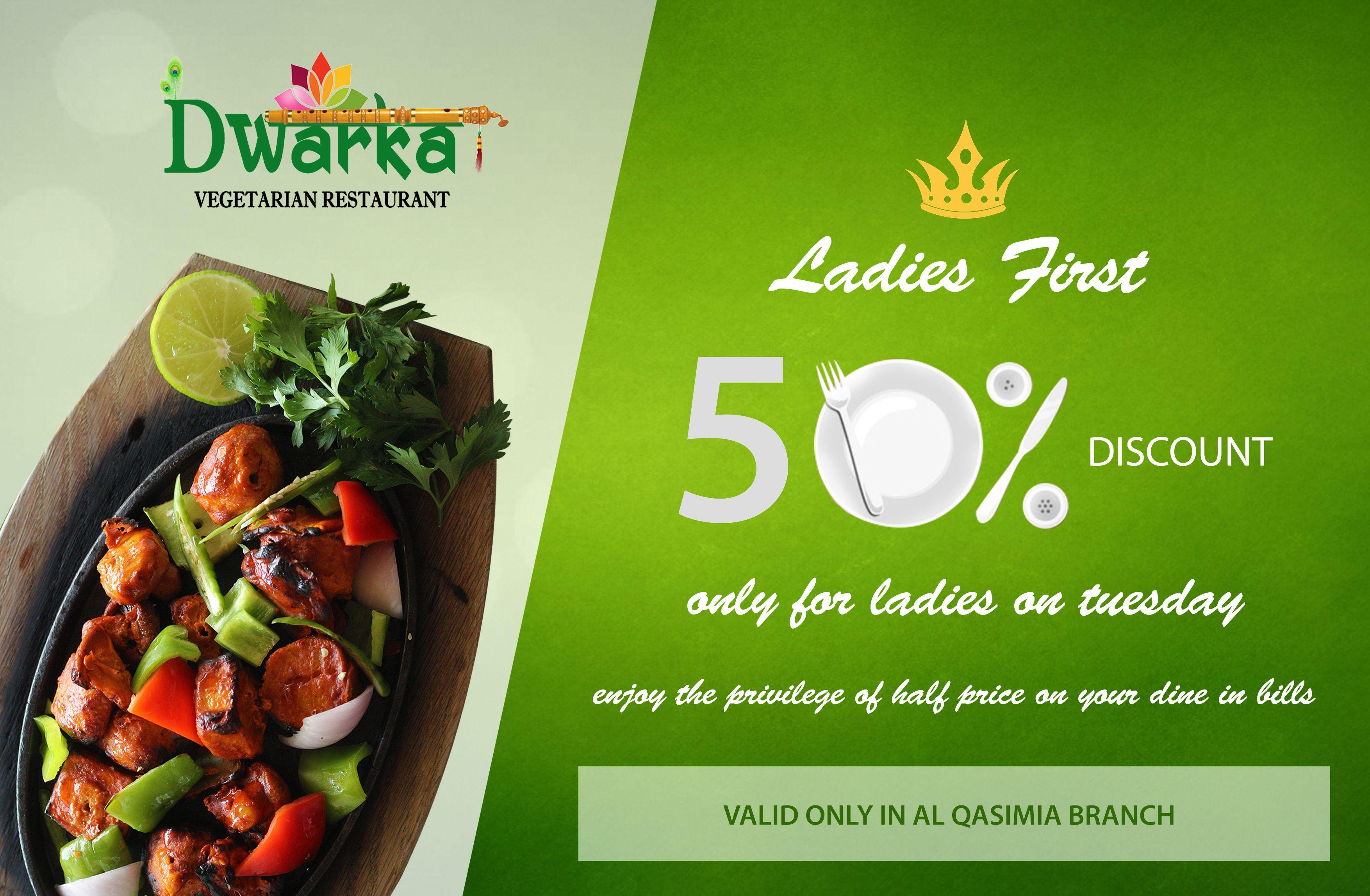 Dwarka Vegetarian Restaurant 50 Discount For Ladies Valid Only In Al Qasimia Branch Www Rainb Veg Restaurant Vegetarian Restaurant Yummy Food