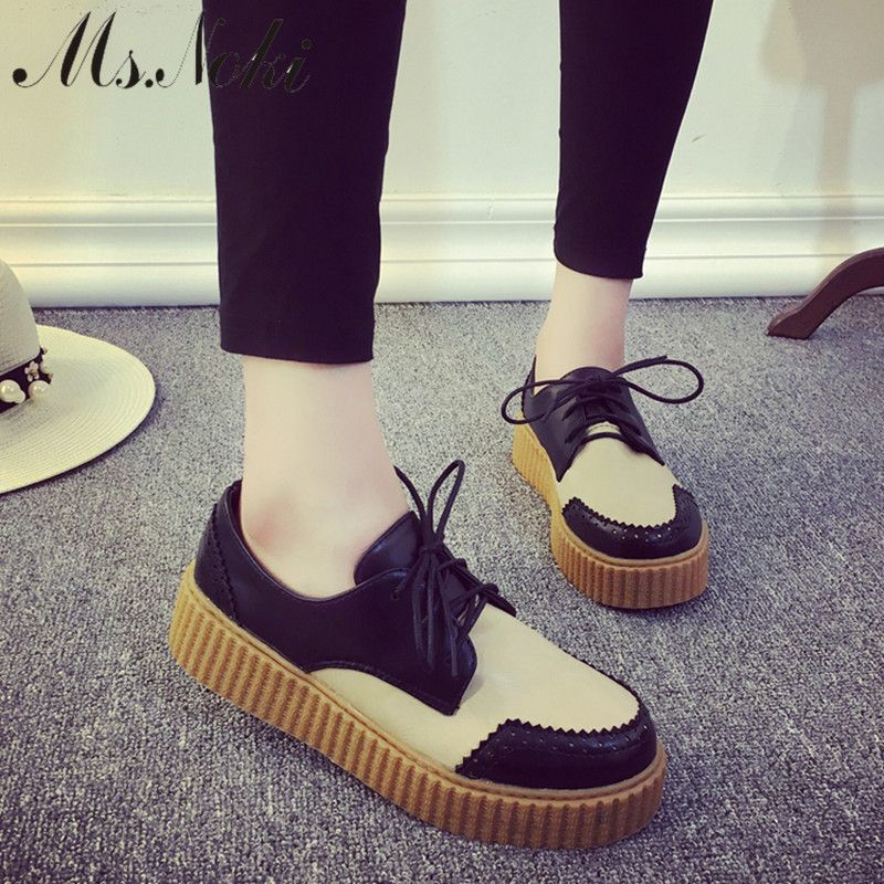 2016 autumn flat moccasins new shoes womens lace up Loafers mixed color  Splice platform causal shoes fashion girls school shoe 26714d697e