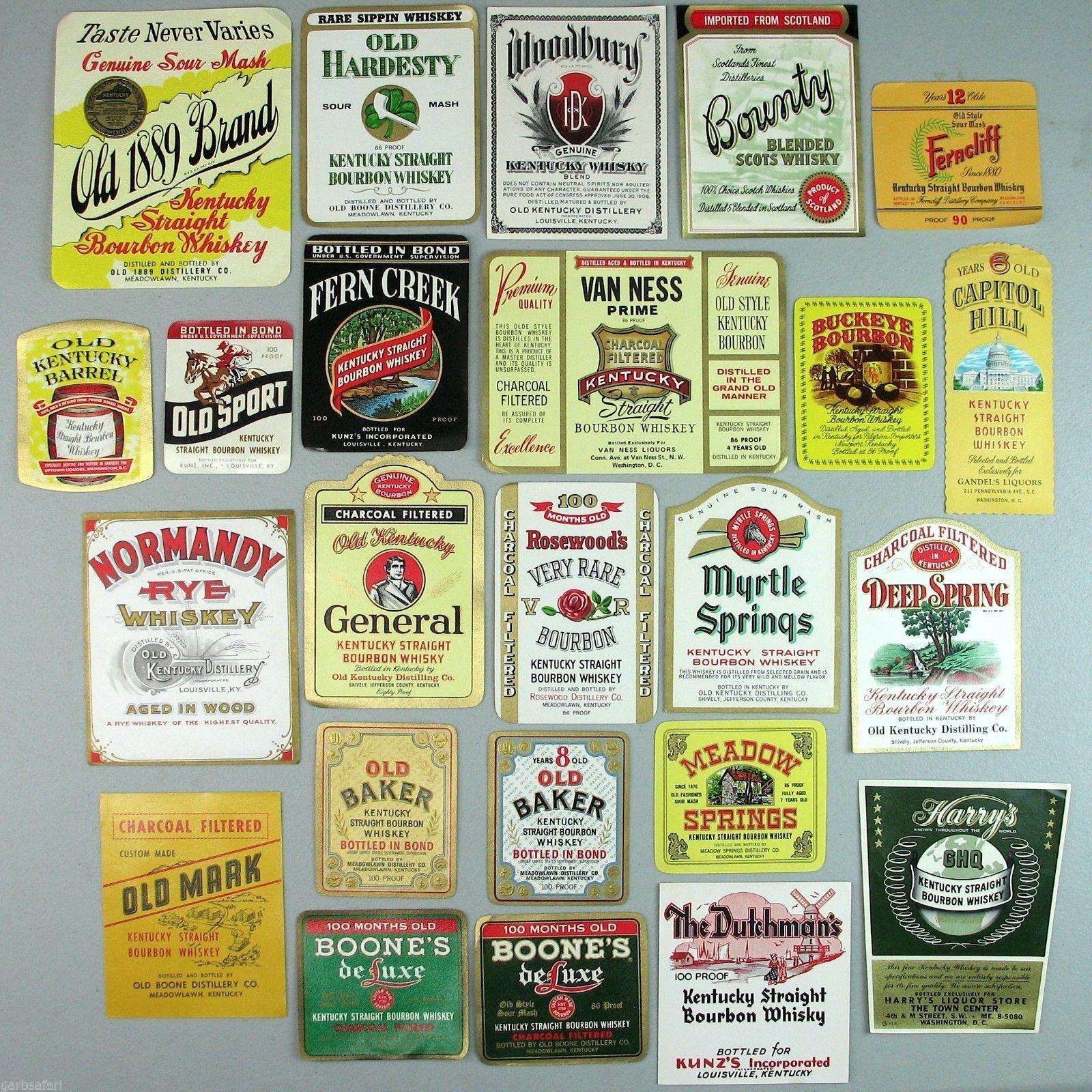 Whiskey Kentucky Bourbon Rye 24 Vtg Bottle Label Lot New Old Stock ...