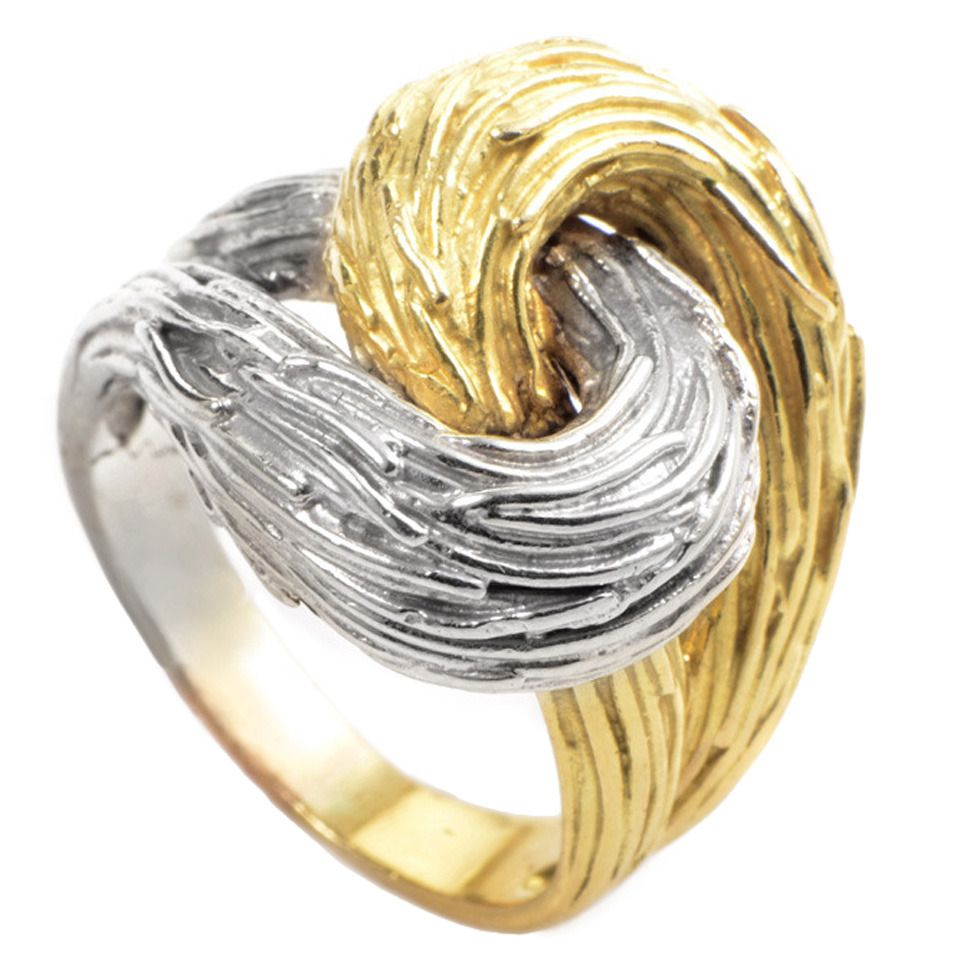 Pomellato Textured Multi-Gold Knotted Ring | From a unique collection of vintage more rings at https://www.1stdibs.com/jewelry/rings/more-rings/