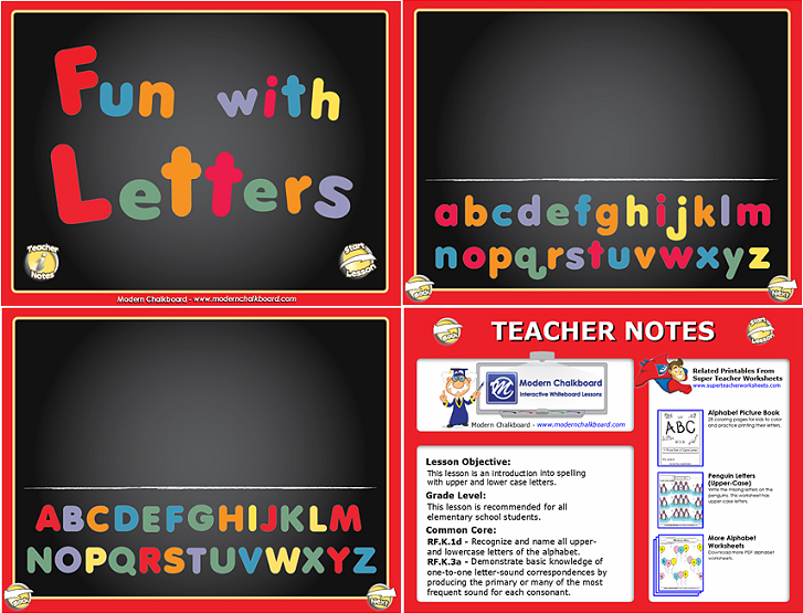 Use this SMART Board Notebook lesson to help young learners practice the letters of the alphabet! Find more interactive whiteboard lessons on ModernChalkboard.com!