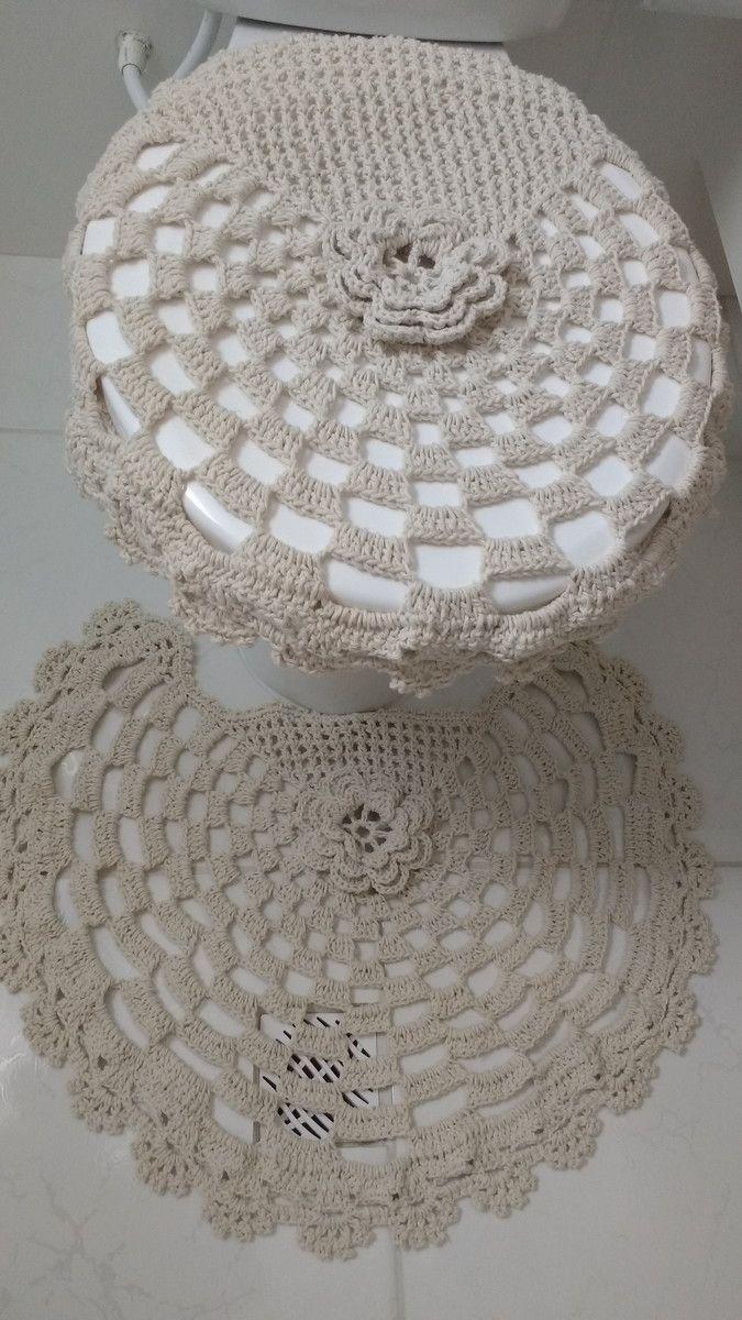 Jogo De Banheiro Em Croche Feito Com Barbante Cor Cru O Jogo Possui 3 Pecas Tapete Pi Jogo Banheiro Croche Grafico Jogos De Banheiro Croche Jogos De Banheiro