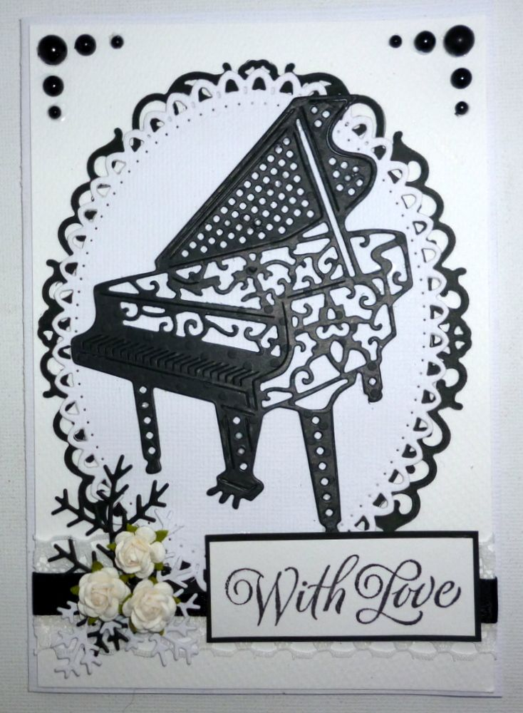 Musical 8 Grand Piano Die Cuts Keyboard Music Any Colour//Card Tattered Lac