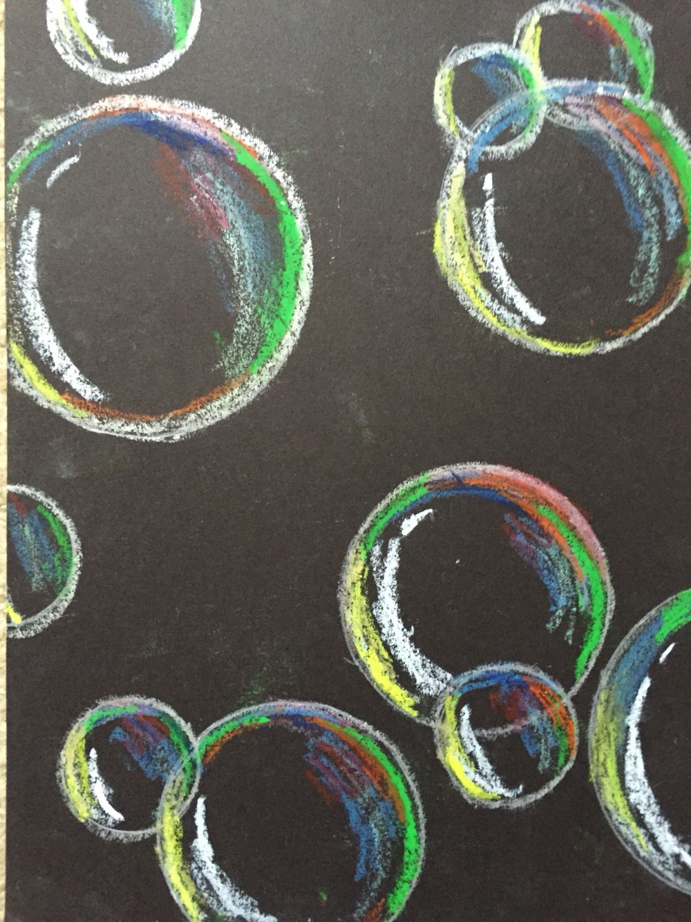 Bubbles Using Oil Pastel More