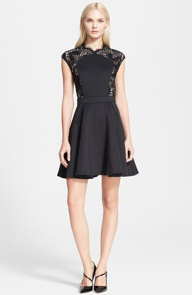 95002be67be Ted Baker London Ted Baker London  Vivace  Lace Panel Fit   Flare Dress  available at  Nordstrom