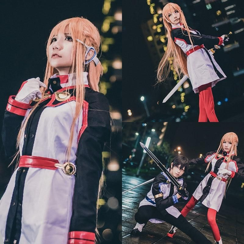Anime sword art online asuna yuuki dress cosplay costumes