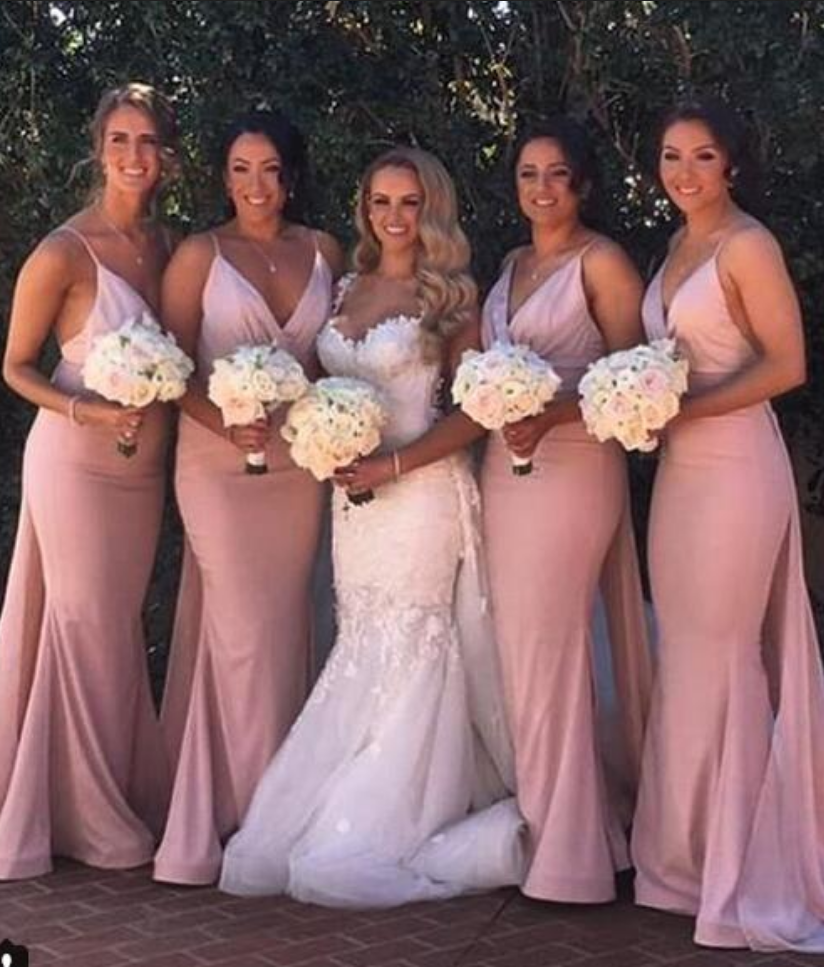 6ef0eb5dfe Blush Pink Mermaid Bridesmaid Dresses Sexy Deep V Neck Sleeveless ...