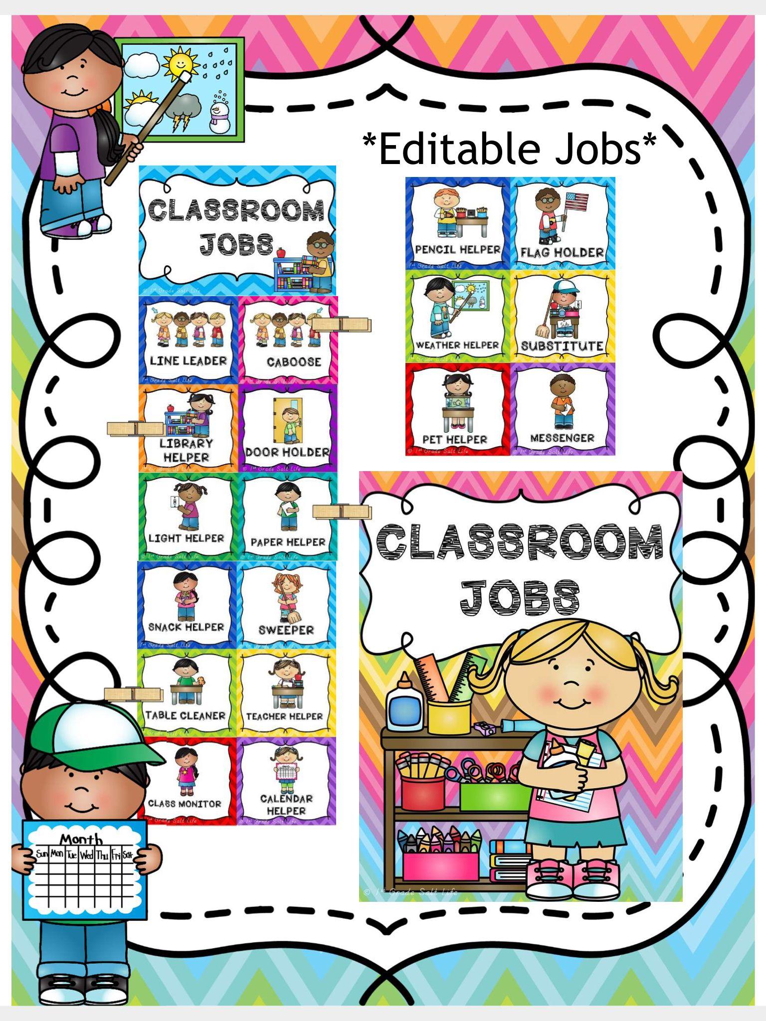 Classroom Jobs Chart Editable File Included