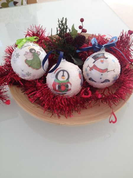 Tre Palle di Natale fatte a mano decorate Neve di Hand Made by Emanuela su DaWanda.com
