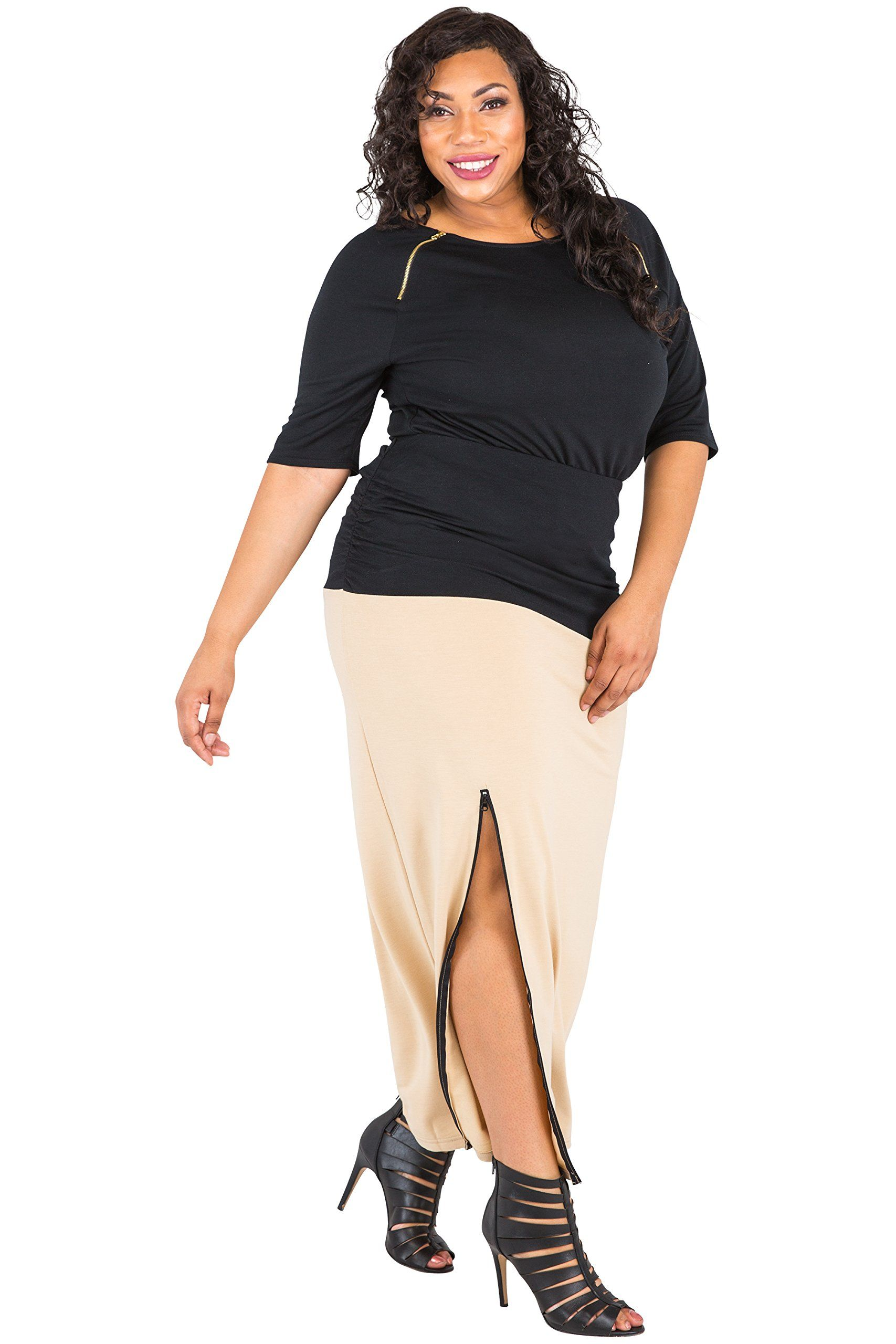 4af23a2373 Poetic Justice Pus Size Womens Curvy Fit Champagne Black Stretch Zip Up  Split Maxi Skirt Size 1X -- Check this amazing product by mosting likely to  the web ...