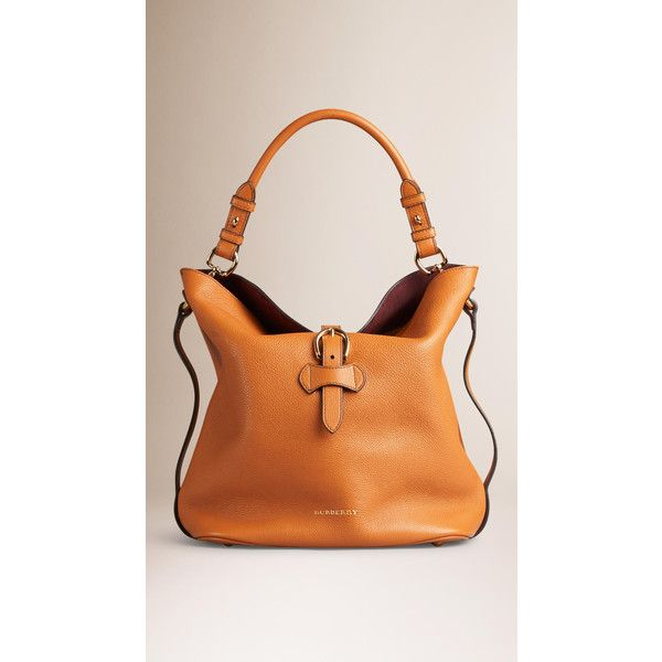 Burberry Medium Buckle Detail Leather Hobo Bag ($1,895) ❤ liked on Polyvore