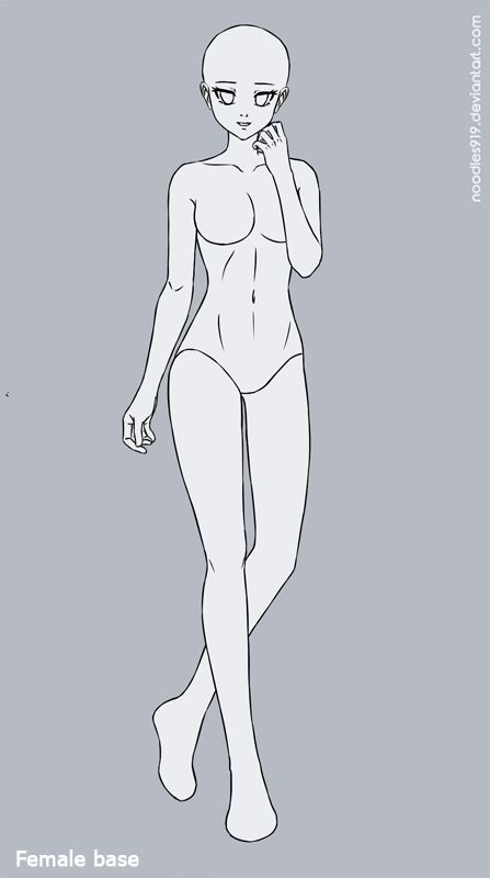 Female Base 3 F2u By Noodles919 Adopts Cartoon Drawings Of People Anime Poses Reference Body Shape Drawing