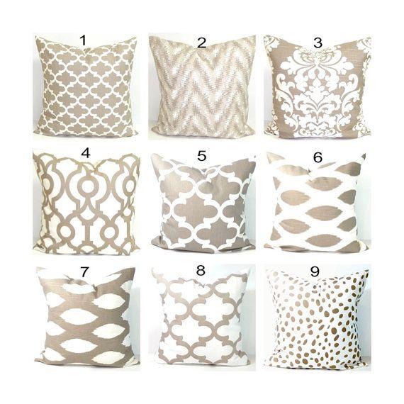 Taupe Pillows Decorative Pillow Tan Throw Pillow Pillows