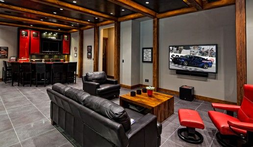 Garage Cars Behind The Sofa From This View Man Cave Couch Man Cave Garage Man Cave