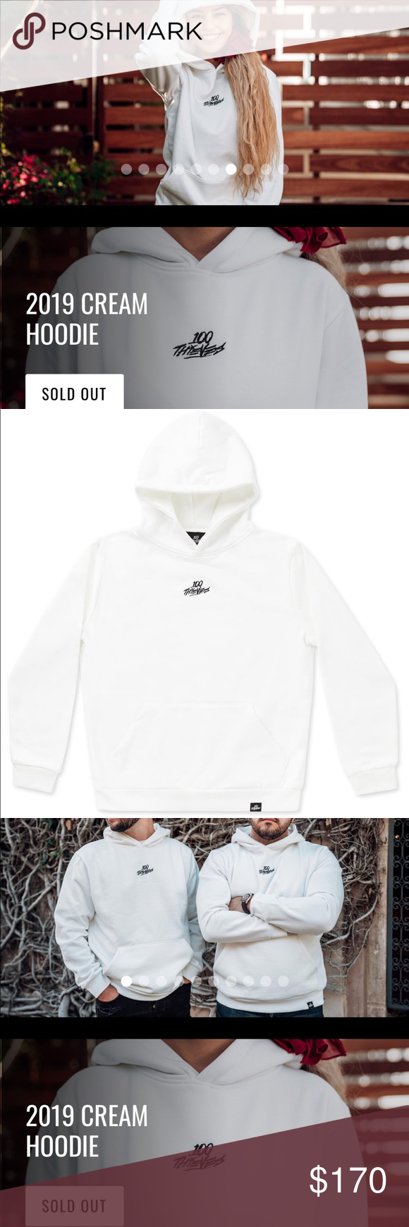 uk availability 2018 sneakers half off 100 Thieves Cream Hoodie Small *Game league merch 100 Thieves ...