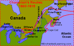 Map Of Samuel De Champlain Route To Canada samuel de champlain map route   Google Search | Samuel de