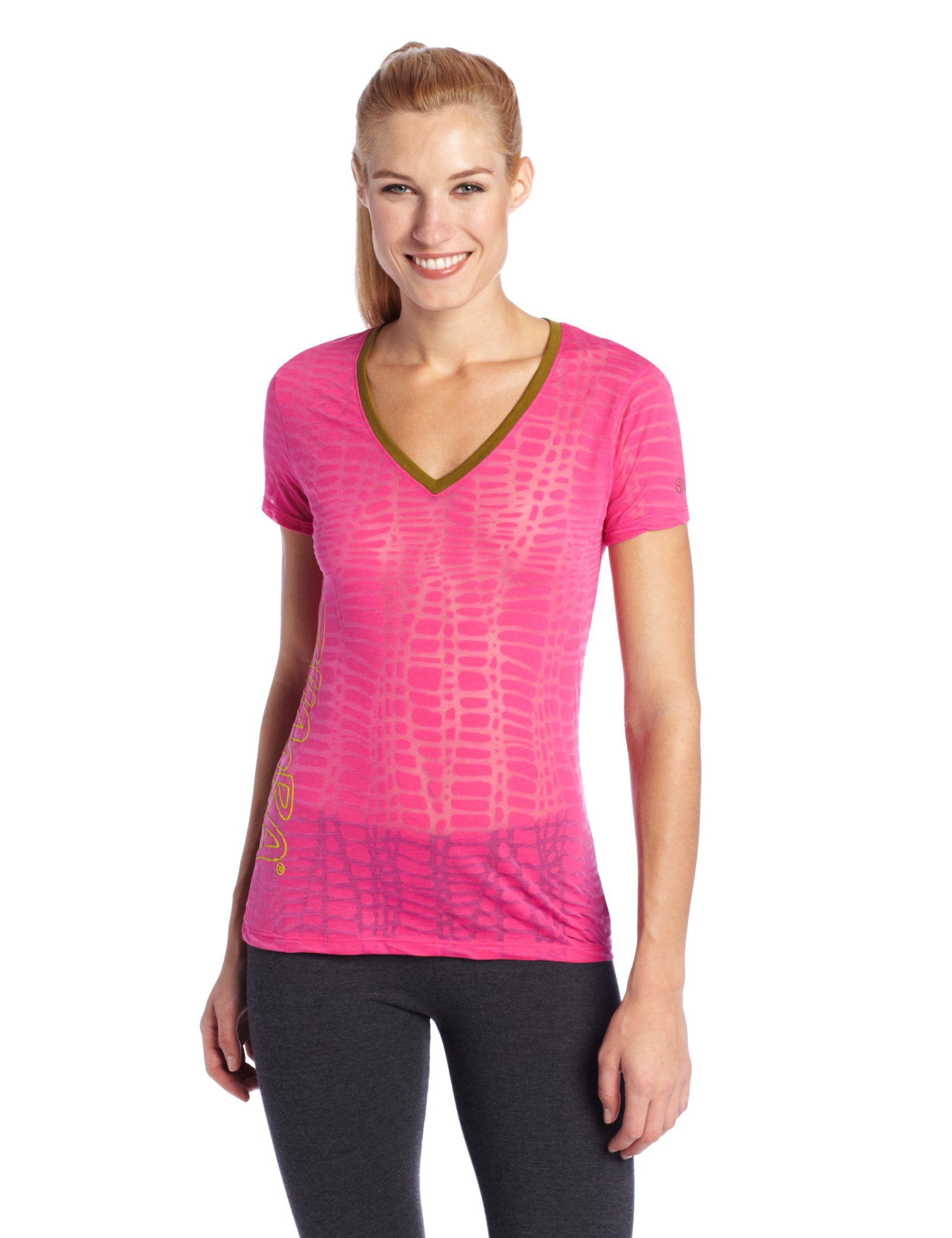 1a5779be2e8 Zumba Fitness Women's Cut Up Over You V-Neck Shirt, Back to the Fuchsia