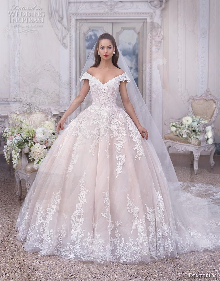 demetrios 2019 bridal cap sleeves off the shoulder v neck heavily  embellished bodice hem blush princess ball gown a line wedding dress chapel  train (2) mv ... dbce08d1afec