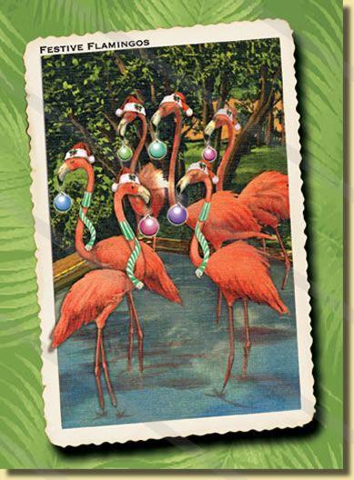 Festive Flamingos Retro Christmas card company ~~~Christmas at