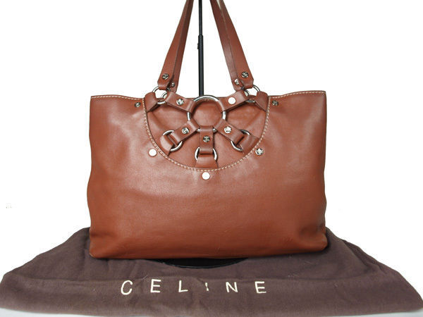 157.41$  Buy here - http://visex.justgood.pw/vig/item.php?t=e21gdr047146 - Authentic CELINE Brown Leather Hand Bag CH11073L 157.41$