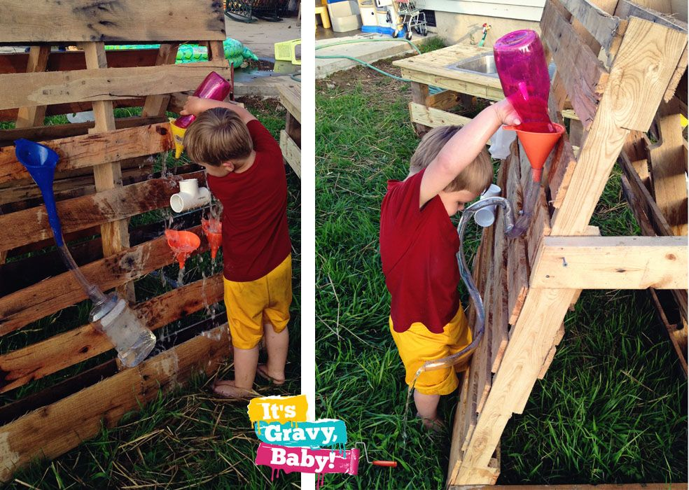 """Use old pallets to make a water wall ("""",) 
